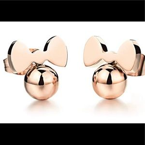 Minnie Mouse 18k rose gold plated earrings New